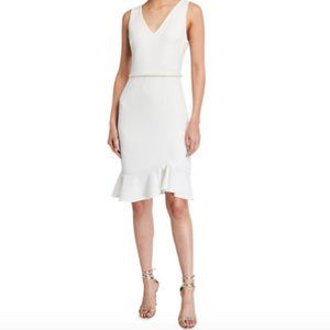 Betsy Johnson White Suba Crepe Midi Dress w Pearl